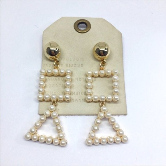 NWT Anthropologie Pearl Shape Drop Earrings